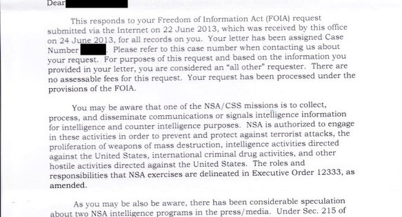 The NSA Responds to My FOIA Request