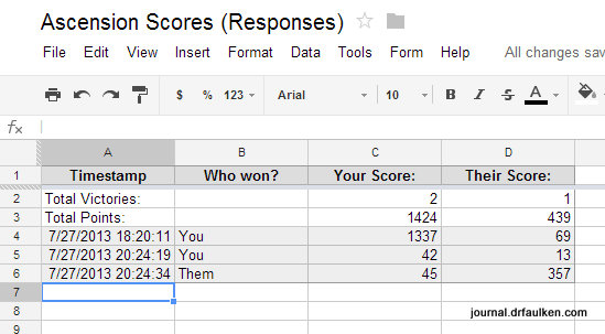 Using Google Forms to Keep Track of Ascension Scores